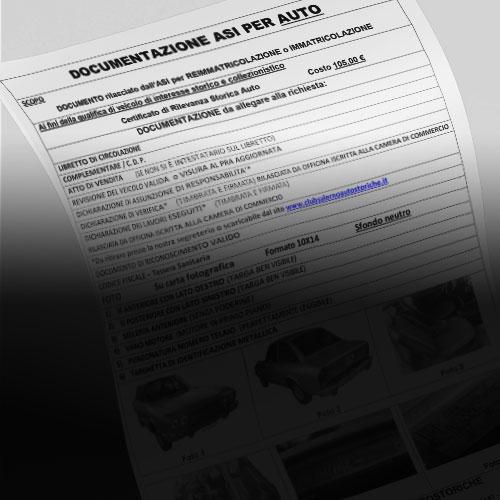 Certificato di Rilevanza Storica (CRS) per Riammissione alla circolazione AUTO