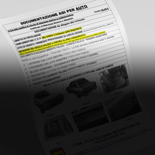 Certificato di Rilevanza Storica (CRS) AUTO CIRCOLANTE