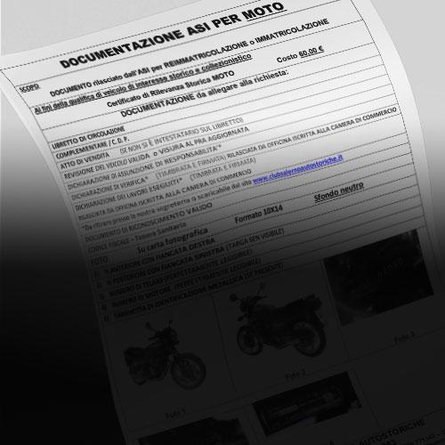 Certificato di Rilevanza Storica (CRS) per Riammissione alla circolazione MOTO
