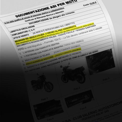 Certificato di Rilevanza Storica (CRS) MOTO CIRCOLANTE