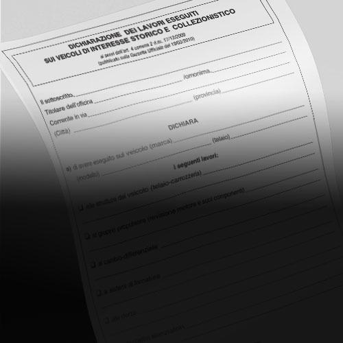 Dichiarazione dei lavori eseguiti sui veicoli di interesse storico e collezionistico