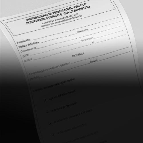 Dichiarazione di Verifica del Veicolo storico e collezionistico